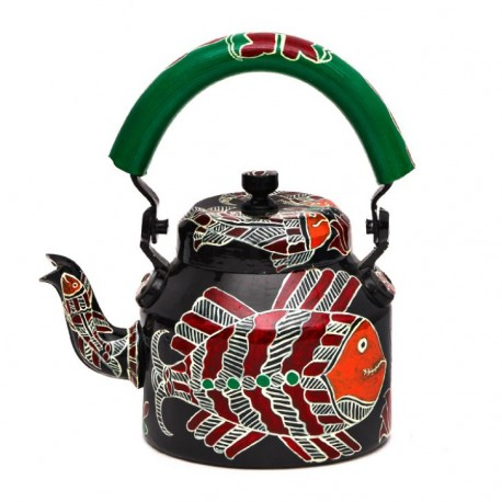 Kaushalam Tea Kettle with six glasses and stand: Fish Cracker