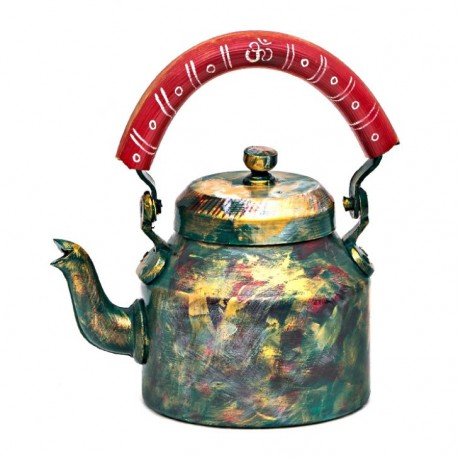 Kaushalam Tea Kettle with six glasses and stand: Antiqua OM Edition