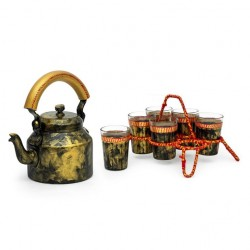 Kaushalam Tea Kettle with six glasses and stand: Antiqua Dark Gold