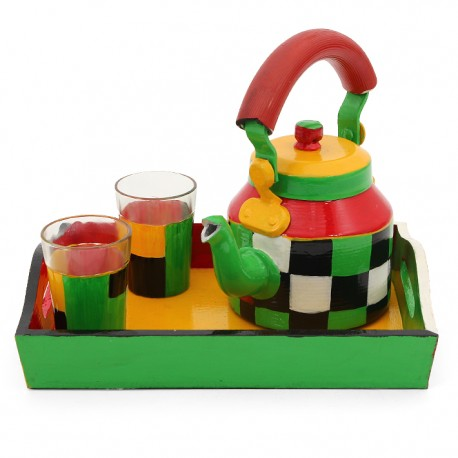 KAUSHALAM 4 Pc TEA SET: CHECKERS