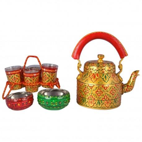 "Kaushalam Hand Painted Tea Set - ""Golden Glow Tea Set "" (Chikha+6 Glasses+2 Bowls)"