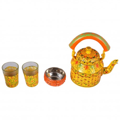 KAUSHALAM TEA SET: Yellow Tea Set (2 Glasses+ 1 Bowl)