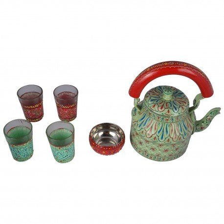 Kaushalam Tea set: Sea green Tea Set (4 Glasses+1 Bowl)
