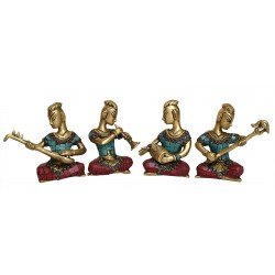 Brass and Coral Stone Musical Men Set of 4
