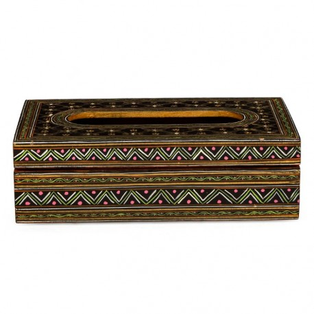 KAUSHALAM HAND PAINTED  TISSUE BOX: BLACK