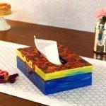 KAUSHALAM HAND PAINTED TISSUE BOX: MULTI