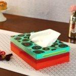 KAUSHALAM HAND PAINTED TISSUE BOX: SEA GREEN
