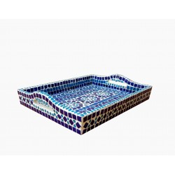 KAUSHALAM MOSAIC LARGE TRAY: BLUE