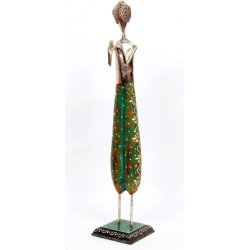 Wrought Iron Wooden Painted Musician Doll Green