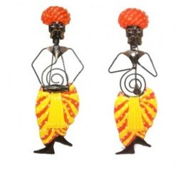 Wrought Iron Rajasthani Musician Wall Hanging Set of two 28""