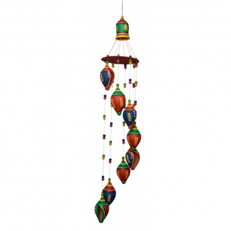 Terracotta painted shankh wind chime the ethnic story for Terracotta wind chimes