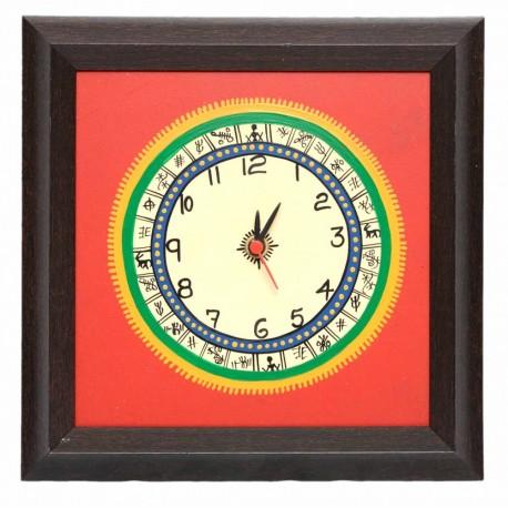 Traditional Bastar Art Painted Wall Clock