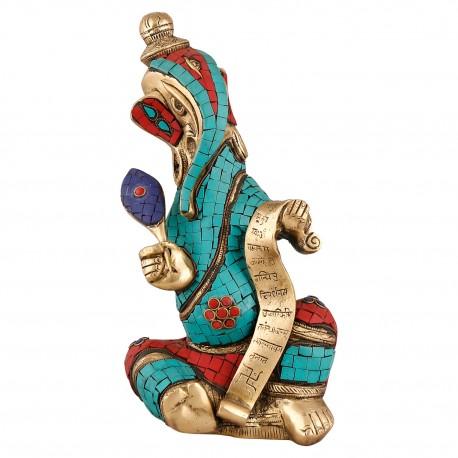 Brass Colour Stone Writing Ganesha Idol