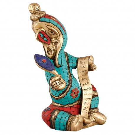 Brass Colour Stone Writing Ganesha Idol
