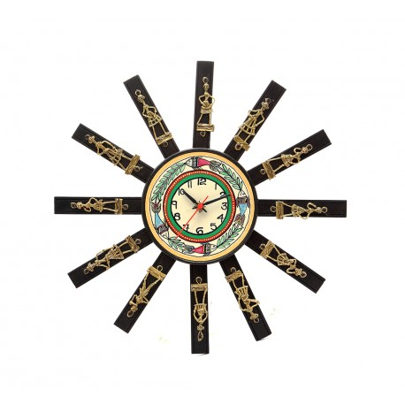 Ethnic Dokra Art Sun Design Wall Clock