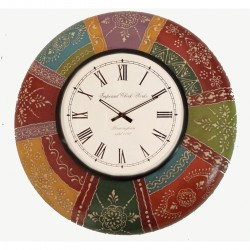 """Painted Wooden Ethnic Wall Clock 12"""""""