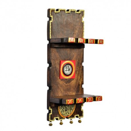 Wooden Warli Art Wall Shelf