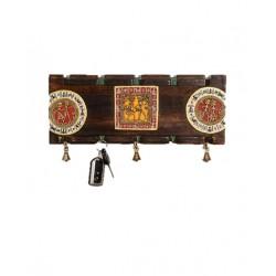 Wooden Dokra and Warli Art Key Holder
