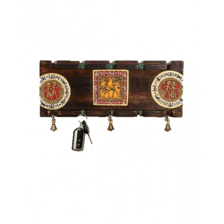 Wooden Dokra and Warli Art Key Holder