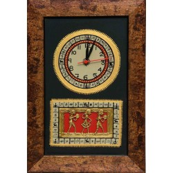 Dokra and Warli Wooden Wall Clock