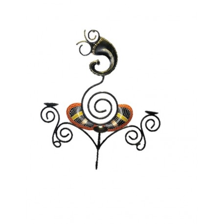 Wrought Iron Ganesha Wall Hanging T Light Holder