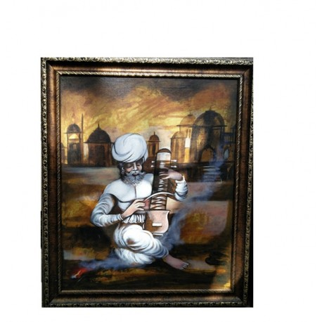 Canvas Painting Rajasthani Man With Frame 2 Feet by 2.5 Feet