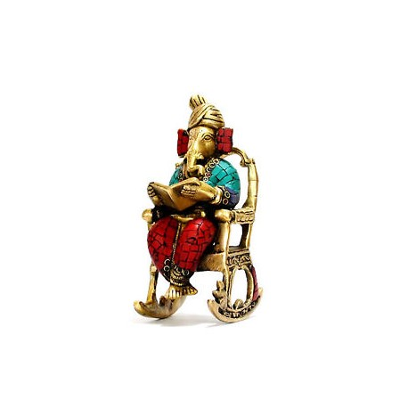 Brass Rocking Chair Ganesha With Colour Stone