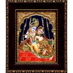 Radha Krishna Swing Tanjore Painting