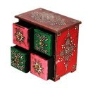 Colourful Embossed four drawer wooden box