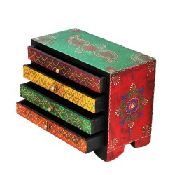 Painted Four Drawer Embossed Wooden Box
