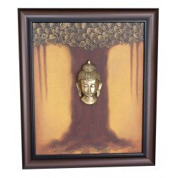 Buddha Under Mahabodhi Tree Canvas Painting Brass Buddha
