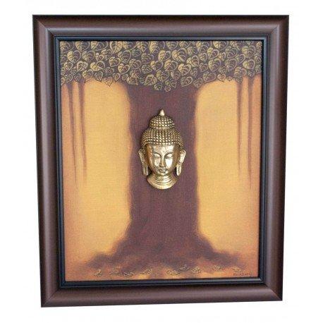 Buddha Under Mahabodhi Tree Canvas Painting Brass Buddha