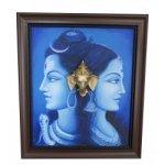 Shiva Parvathi Ganga River Brass Ganesha Head Canvas Painting Blue