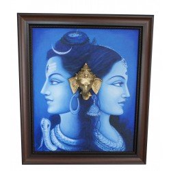 Shiva Parvathi Ganga River Brass Ganesha Head Canvas Painting Blue
