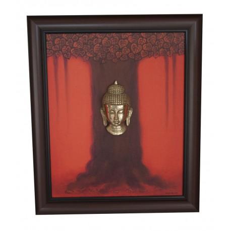 Buddha Maha Bodhi Tree Painting With Brass Buddha