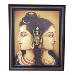 Shiva Parvathi Ganga River Brass Ganesha Head Canvas Painting