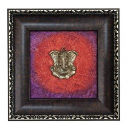 Ganesha Canvas Painting With Brass Ganesha Head