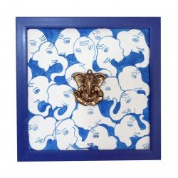 Universal Ganesha Canvas Painting Brass Ganesha Head