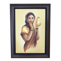 "Copy of Ravi Verma Milkmaid Canvas Painting 24"" by 17"""