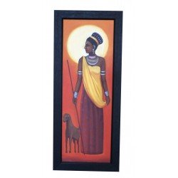 Ethnic Village Lady With Sheep Canvas Painting