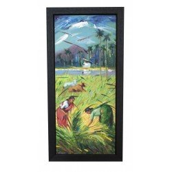 Indian Village Rice Harvesting Picking Canvas Painting