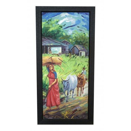 Indian Village Harvesting Scene Canvas Painting