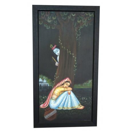 Radha Krishna Under Tree Canvas Painting
