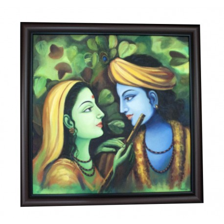 Radha Krishna Sitting With Flute Canvas Painting
