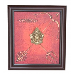 Canvas Durga Painting With Brass Durga Face