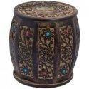 Wooden Drum Shape Ethnic Wood Money Box Hundi