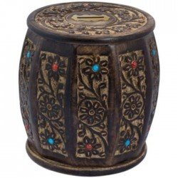 Wooden Drum Shape Ethnic Wood Money Box Hundi
