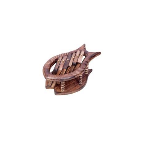Wooden Sheesham Wood Fish Shape Coaster Set