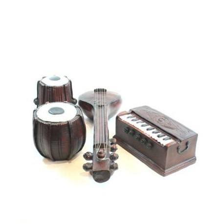 Miniature Fibre Tabla, Harmonium and Sitar Music Decor