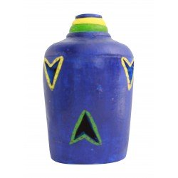 Painted Terracotta Carved Bottle Shape T Light Candle Holder